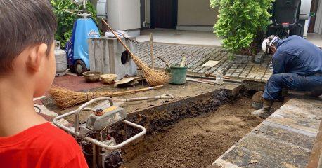 道路工事(砂かぶり)